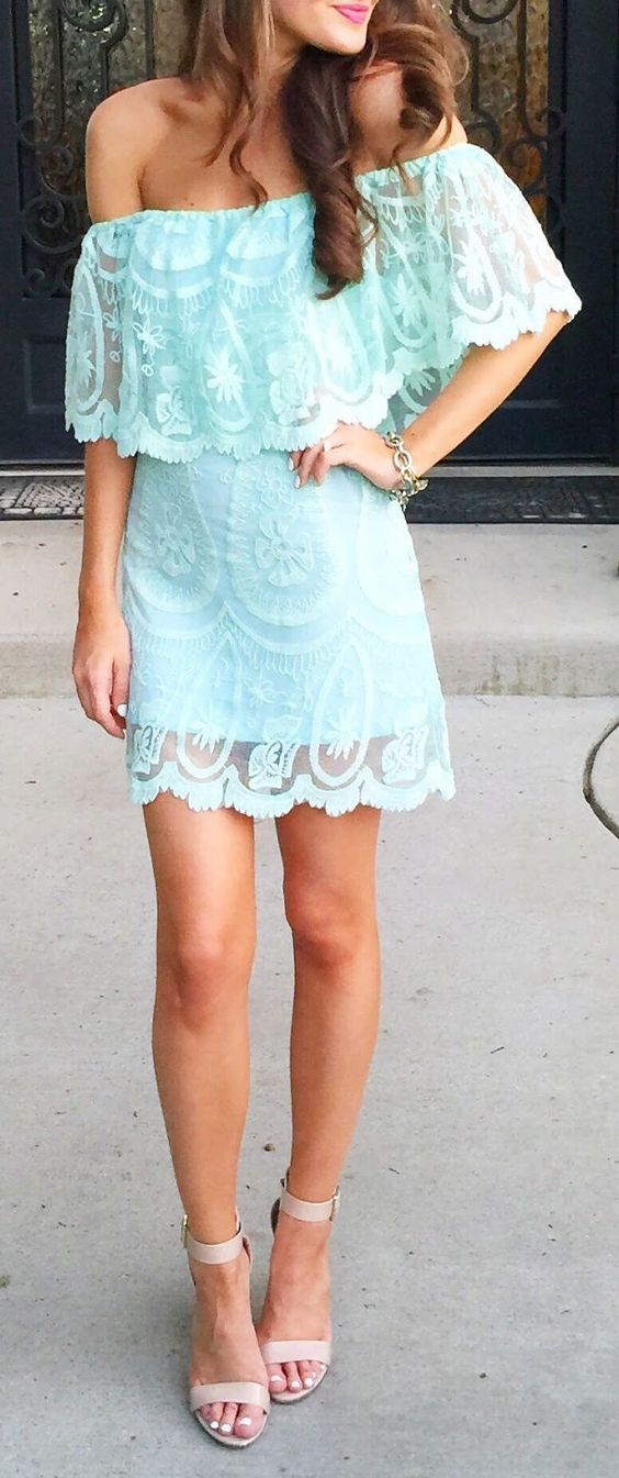 Victoria's Secret Style: One Shoulder Lace Dress Streetstyle by Southern Curls and pearls