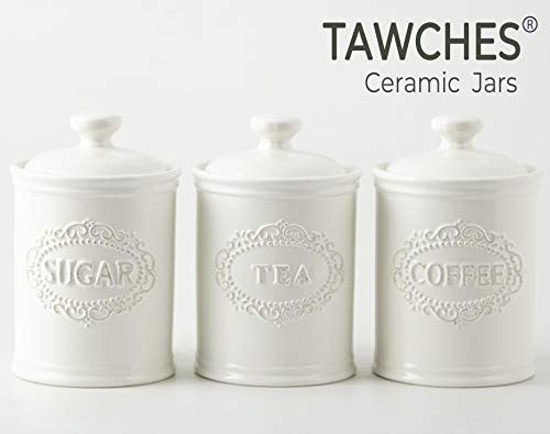 Download Wallpaper White Kitchen Set Tea Coffee Sugar