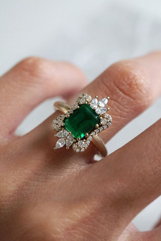 Inspired by the movie #CrazyRichAsians. This emerald ring is a show stopper. Made in 14k gold by Tippy Taste Jewelry.