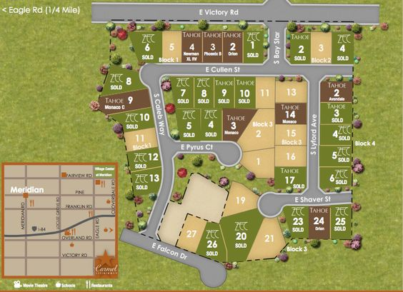 Reserve your lot in Carmel Subdivision in Meridian, Idaho. Find out what lots and homes are available by Zach Evans Construction and Tahoe Homes.