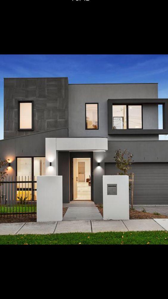 Fachadas en color gris Fachadas exteriores de casas Fachadas casas minimalistas Casa gris exterior