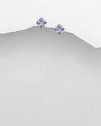 sterling silver studs set with amethyst