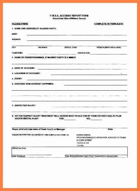 Automobile Accident Form Luxury 5 Pany Accident Report Form