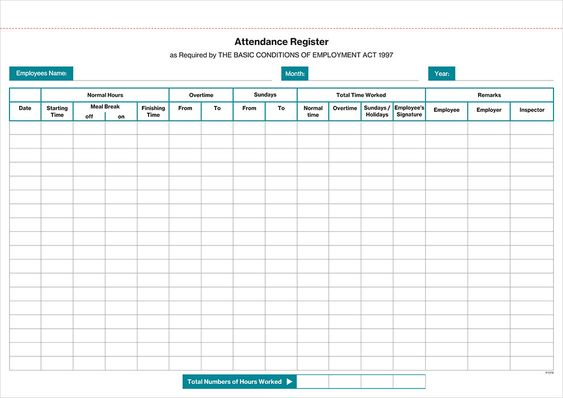 The 25+ best Attendance register ideas on Pinterest The - attendance register sample