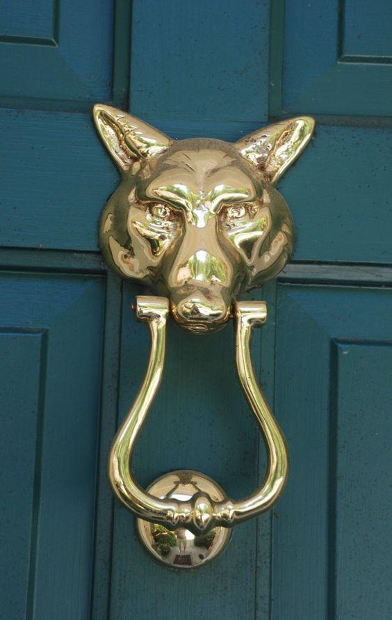 Door knockers foxes and teal door on pinterest - Fox head door knocker ...