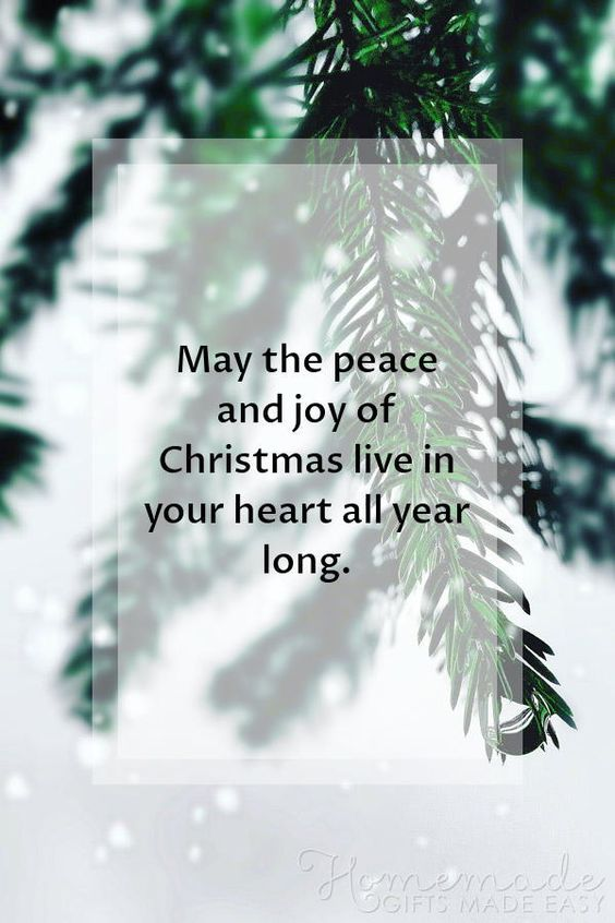 Christmas Quotes | May the peace and joy of Christmas live in your heart all year long.