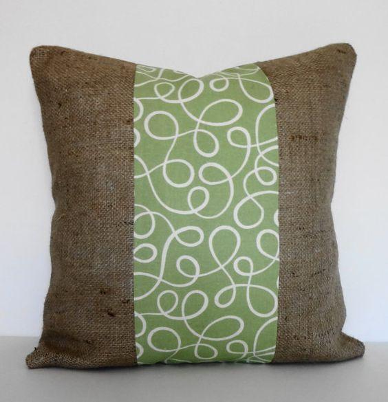 Burlap Sage Green Decorative Pillow Cover, P Kaufmann, Throw Pillow, 16 x 16 Decorative ...