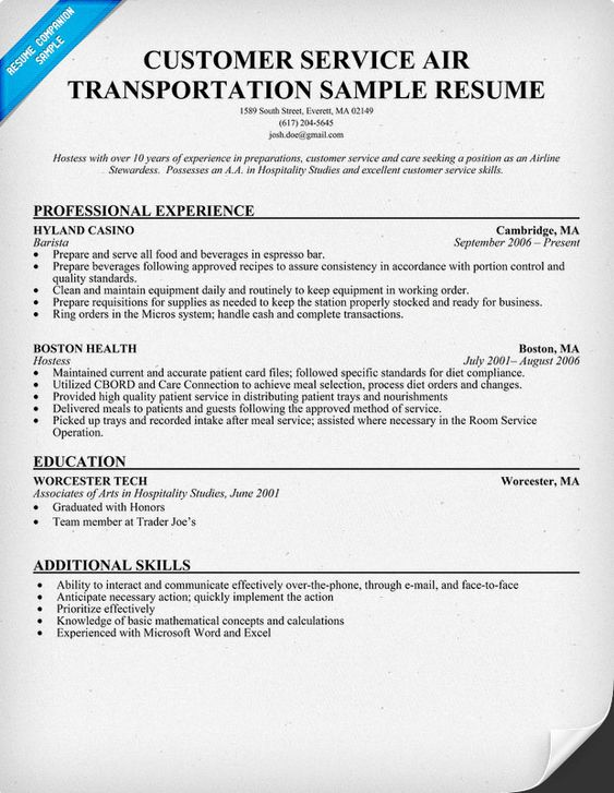 Customer Service #Air Transportation Resume Sample - transportation resume examples