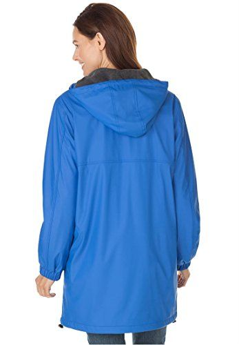 Women's Plus Size Raincoat Slicker Repels Water; Drawstring Hood ...