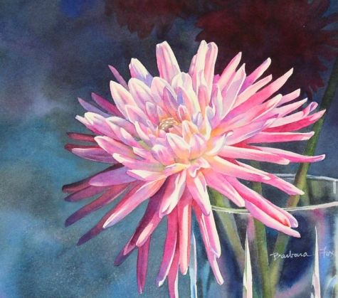 DREAM OF SUMMERS JOY dahlia flower watercolor painting, painting by artist Barbara Fox