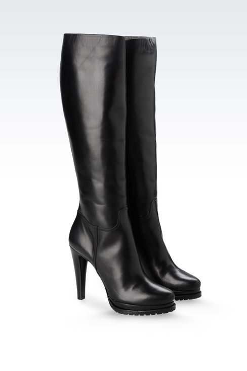 Giorgio Armani Women High Heeled Boots - LEATHER BOOT WITH LUG ...