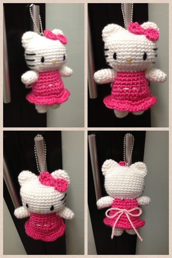 Hello Kitty Doll Toy Knitting Pattern : Ravelry: Crochet Kitty Hello Kitty in Pink Dress Doll Toy pattern by DDs Croc...