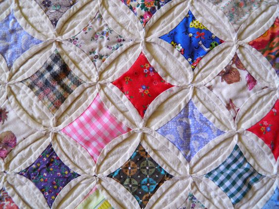 "Cathedral Window quilt, pieced and hand quilted by Ruth ""Granny"" Warnholz"