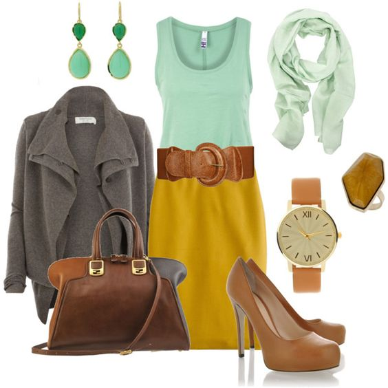 Remember this color combo: Color Combos, Style Inspiration, Yellow Skirts, The Dress, Mustard Mint, Color Combinations, Work Outfit, Mustard Yellow