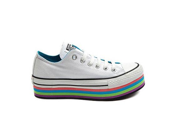 Custom Converse Lo Top Rainbow Platform Sneaker