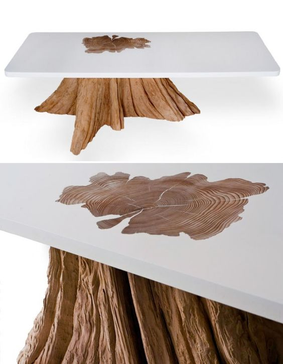 mth woodworks Tables Bring a bit of the great outdoors right into your home. These tables from mth woodworks combine the raw, organic look of real, salvaged cedarwood tree stumps with the smooth, modern lines of a resin tabletop. Custom shapes, sizes and