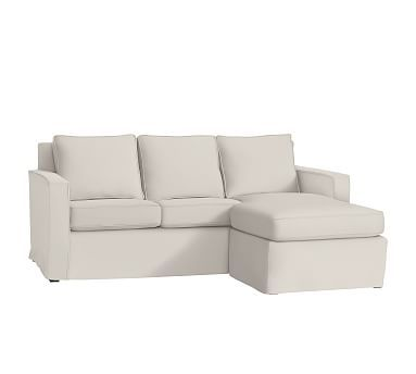 Cameron Square Arm Slipcovered Sofa with Reversible Chaise Sectional