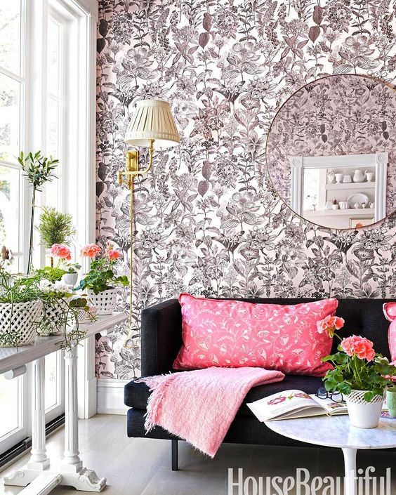 suellen gregory - loving the black couch against that wallpaper