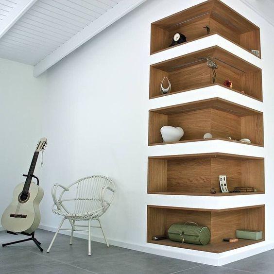 Super cool corner shelves oset inspiration