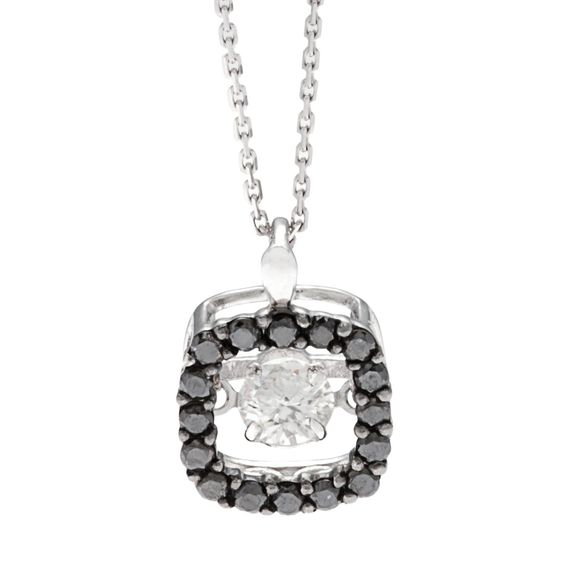 Beverly Hills Charm 10k Gold 1/2ct TDW Black and Pulse Diamond Necklace