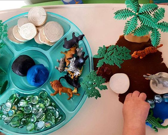 Tot School....Zoo Unit. Zoo Playdough Invitation to Play. Creating a zoo using playdough & @safariltd animals.
