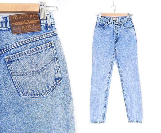 Sz 2 Jordache High Waisted Acid Wash Mom Jeans - Vintage 80s Slim Fit Jeans