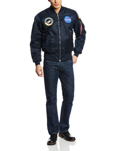 Alpha Industries Youth Nasa Ma-1 Flight Jacket large 14-16 space ...