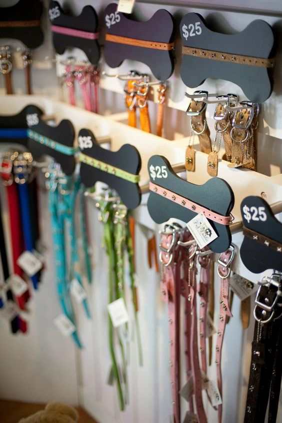 really cute collar and leash display!