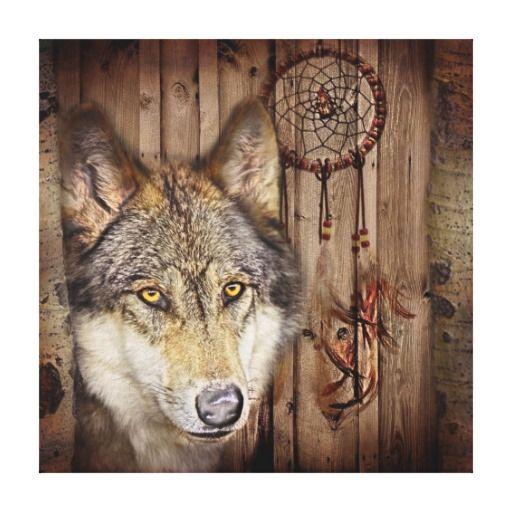 rustic native indian dream catcher wild wolf canvas prints