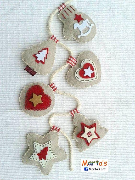 Guirnalda de adornos de Navidad en fieltro - Felt Christmas ornaments garland Más