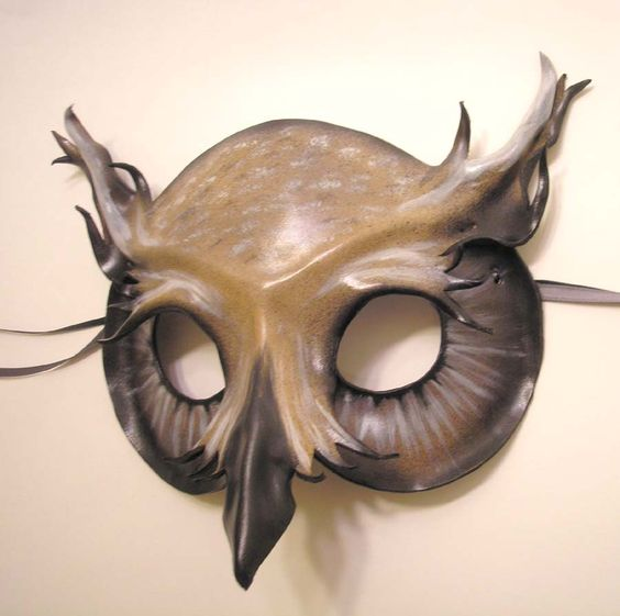 Horned Owl Leather Mask - Grey