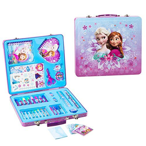 ... Gift Tin Case Stationary Art and Craft Kit Organizer Drawing Frozen