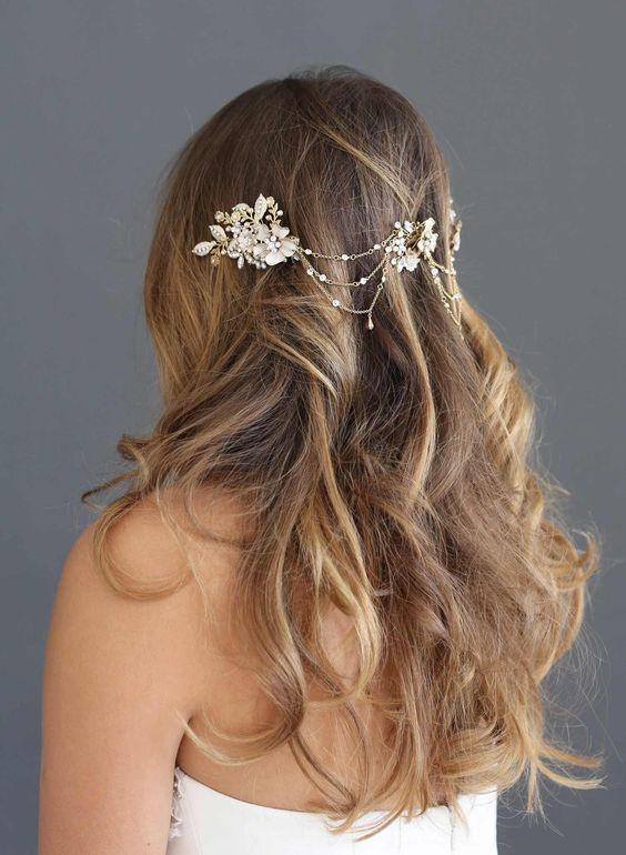 Floral swag bridal headpiece, twigs and honey, bridal headband
