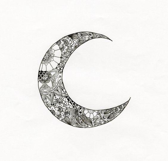 Illustration lune tatouée : Affiches, illustrations, posters par automnevermeil
