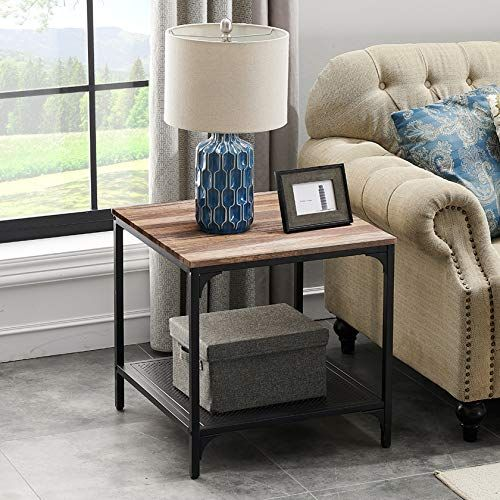 Homyshopy Square End Table With Storage Industrial Side Tables Living Room Vintage Brown Living Room Side Table End Tables With Storage Industrial Side Table