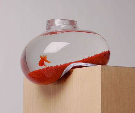 Very cool hand-blown glass fish bowl (but obviously not for homes with curious little children who would constantly be grabbing for it)