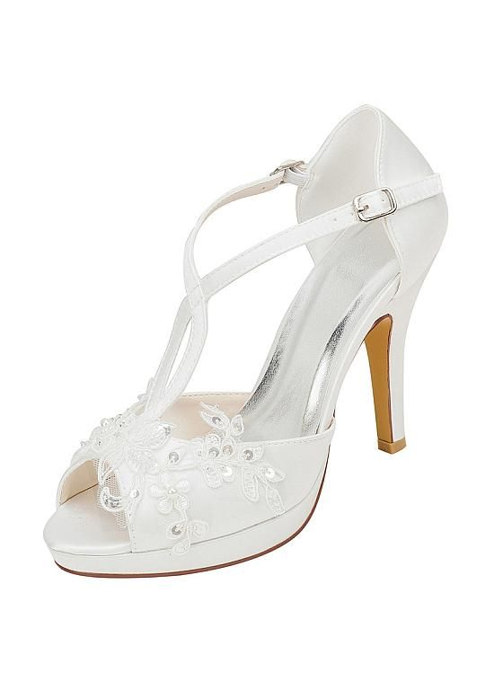 Buy Discount Beautiful Satin Upper Peep Toe Stiletto Heel Wedding