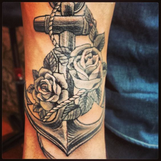 Grey ink rose flowers and anchor tattoo tattoooos for Anchor with roses tattoo