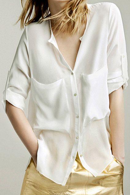非対称 v ネック ポケット白いシフォンのシャツ