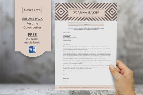 geometric pattern resume cover by inkpower on creativemarket