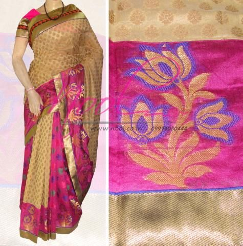 Nool Indian Chikoo Pink Fancy Cotton Patola Silk Uppada Silk Saree Banarasi Border Half And Half