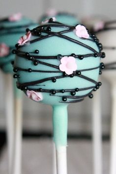 Blue with pink flower pops