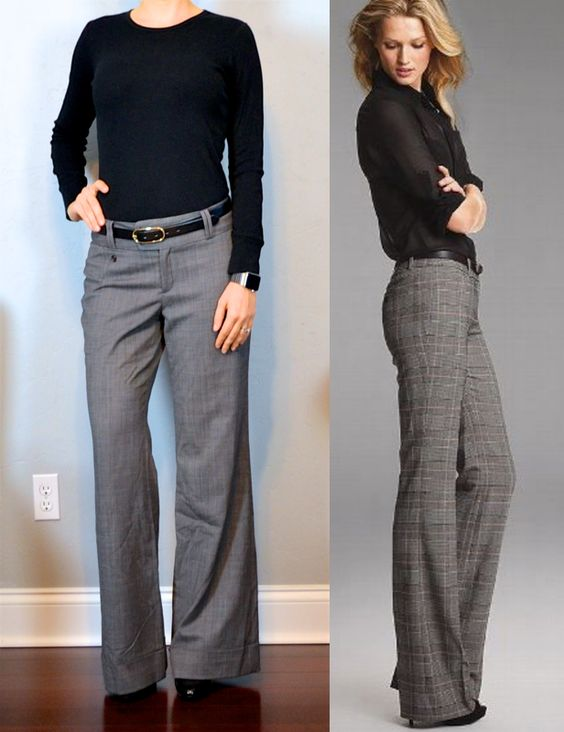 outfit post: black sweater, grey wide-leg pants, black pumps