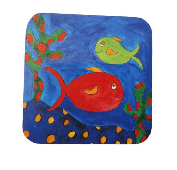 Placemat Nautical Seaside Fish Square by SheIsAllArt on Etsy, £6.50