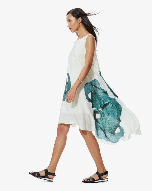 Tibi Midori Silk Linen Vneck Dress | LuckyShops