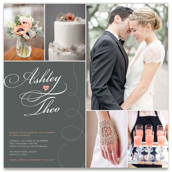 Inspiration board for Sweet Swirls Wedding Invitations by Deïaneira Design in salmon.