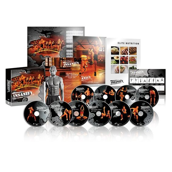 INSANITY DVD Workout. Complete set includes a nutrition guide, calender to track your progress, and 10 intense DVDs for a great workout. Your personal trainer Shaun T will push you past your limits with 10 workout DVDs packed with plyometric drills. Each workout keeps you constantly challenged as you alternate between aerobic and anaerobic intervals performed at your max. Perform long bursts of maximum-intensity exercises with short periods of rest. Free online support