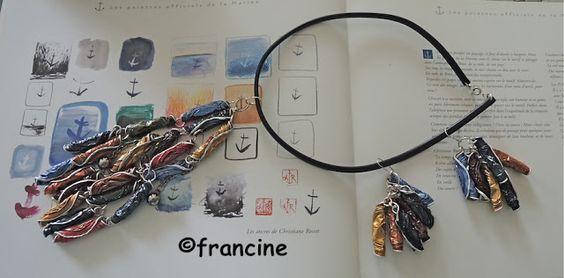 """FRANCINE BRICOLE : Collier et boucles d'oreilles """"Nespresso"""" - Cascade de tortillons multicolores"""