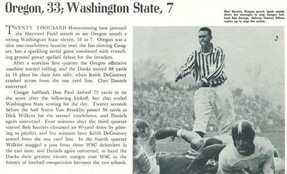 Recap of 1948 Oregon-Washington State football game. From the 1949 Oregana (University of Oregon yearbook). www.CampusAttic.com