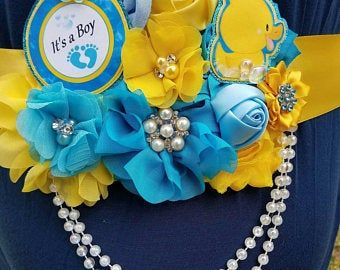 Baby Boy Rubber Ducky Bubbles Blue Yellow Themed Mommy To Be Baby